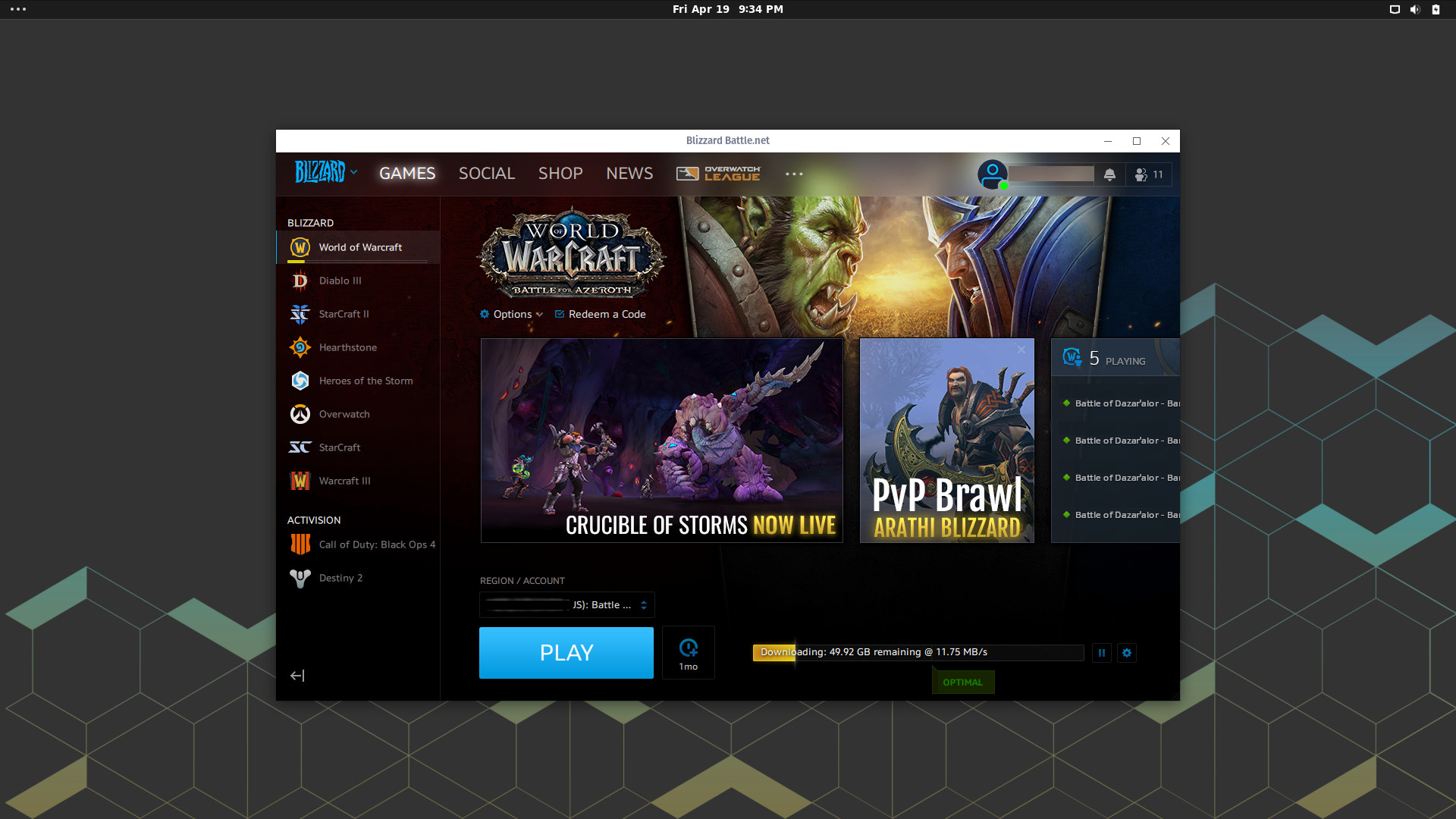 blizzard launcher not showing play button