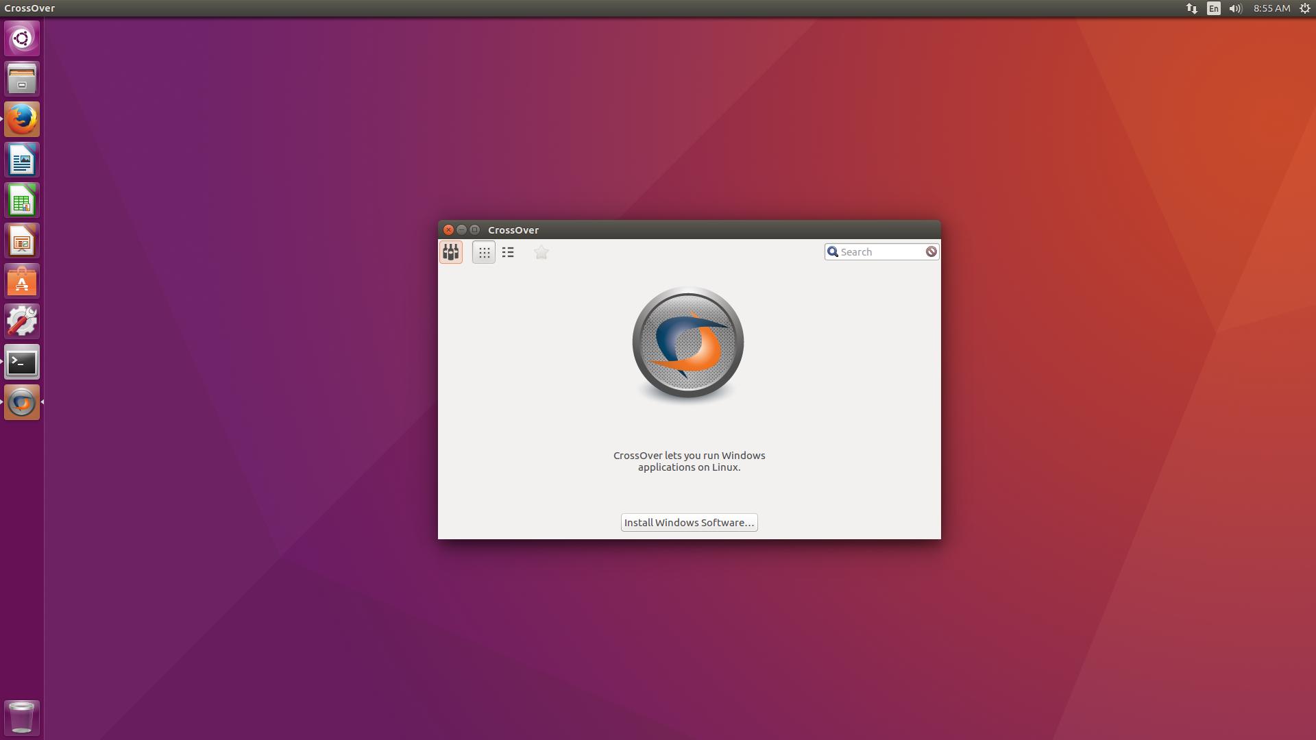 Ubuntu 16.04 running CrossOver!